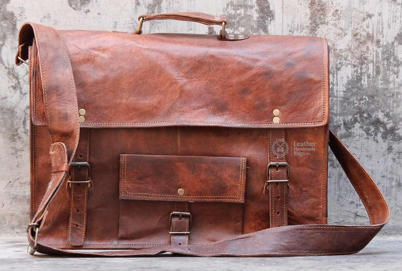 17 Inch Leather Messenger Laptop Bag on Luulla